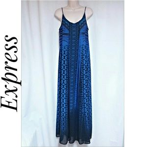 *SALE*Express Maxi-Dress Blue Tribal Print Size XS